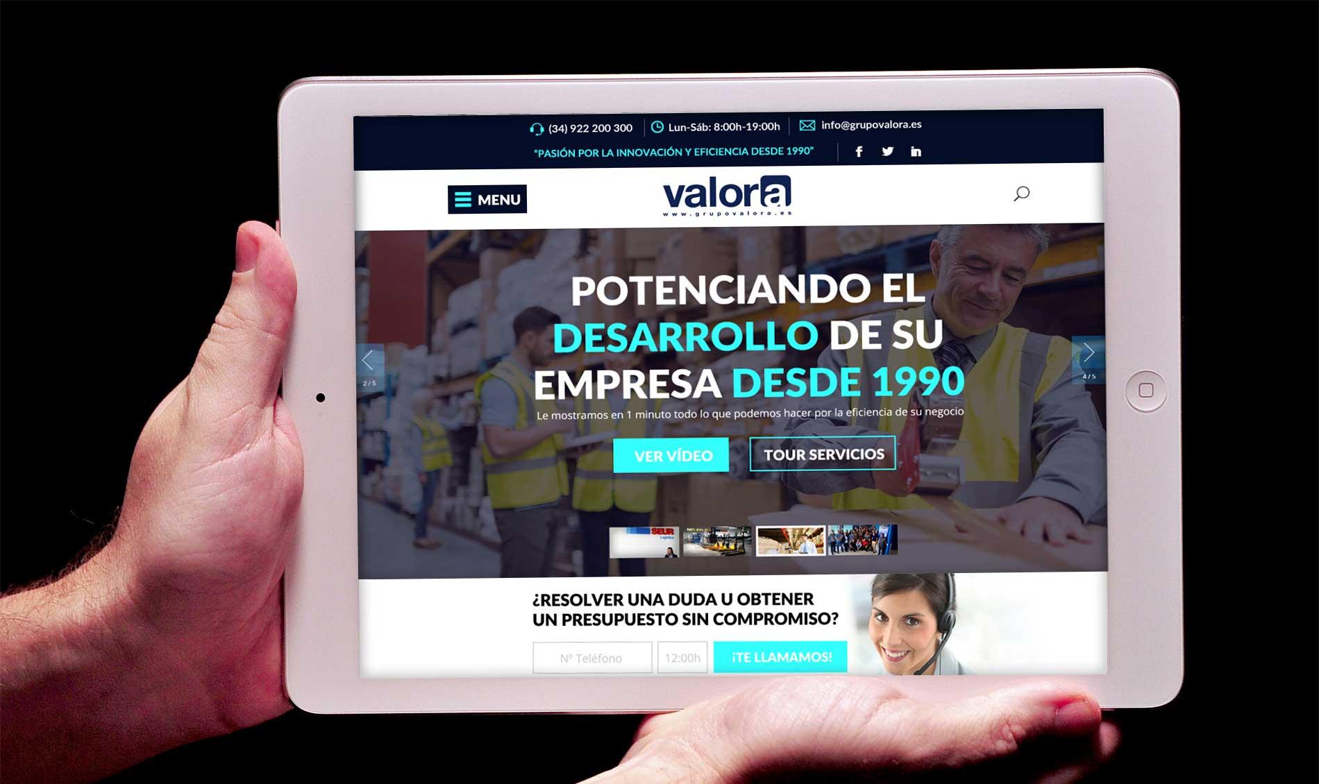 Pagina web Grupo Valora