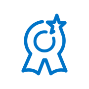 logo medalla compromiso azul
