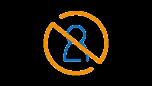 icono silueta con señal de prohibido encima