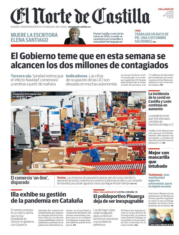 Seur Valladolid ocupa la portada de El Norte de Castilla información sobre empresas de reparto comercio electrónico